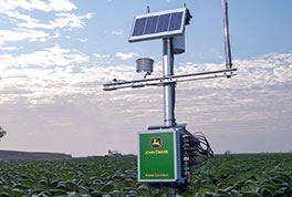 The sensors available on the Field Connect system provide data on temperature, wind speed, wind direction, humidity, solar radiation, leaf wetness and rainfall.